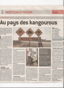 Adrien Laporte au pays des Kangourous Journal de Saone et Loire JSL