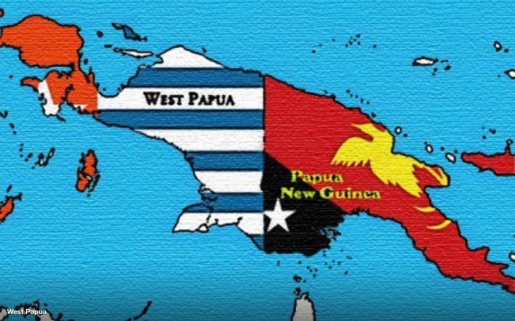 Flag-Map West Papua & PNG