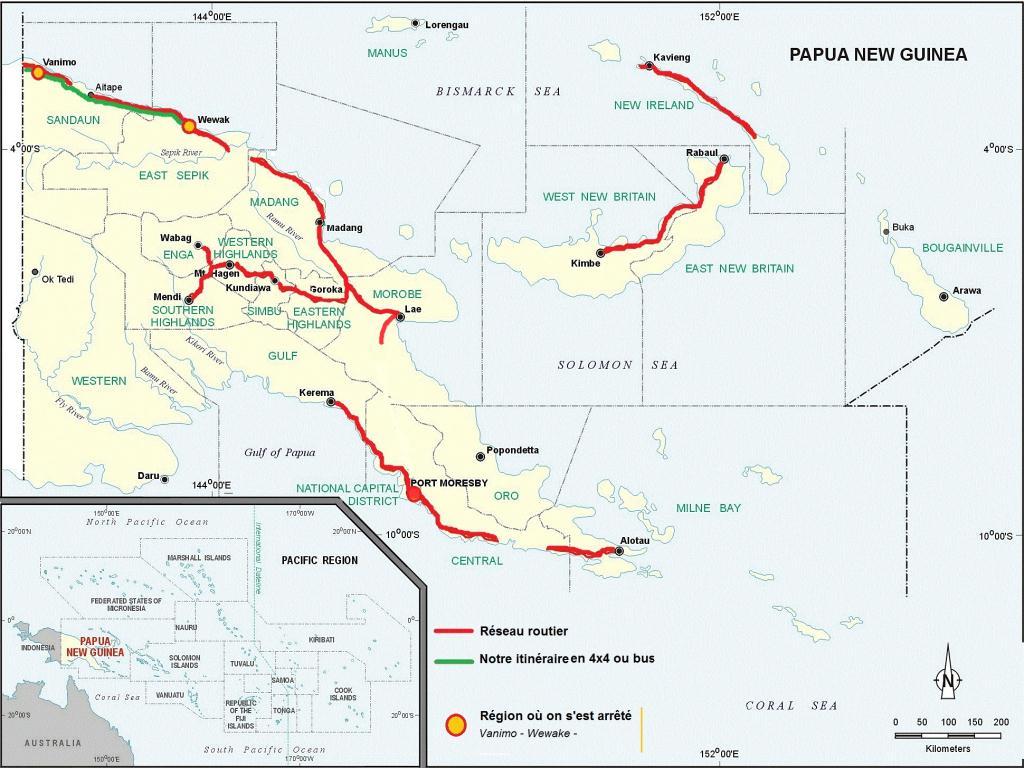Un réseau routier très peu développé ! Comment rejoindrons nous Port Moresby ?