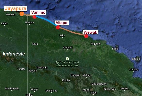 Route Wewak-Jayapura ZOOM