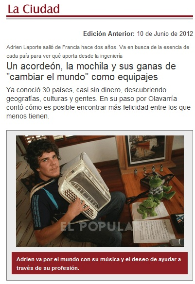 Article de journal en Argentine