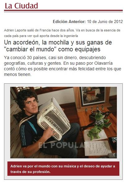 Article de journal en Argentine