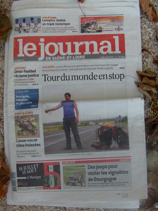 Adrien Laporte Journal de Saone et Loire tour du monde en Auto-stop