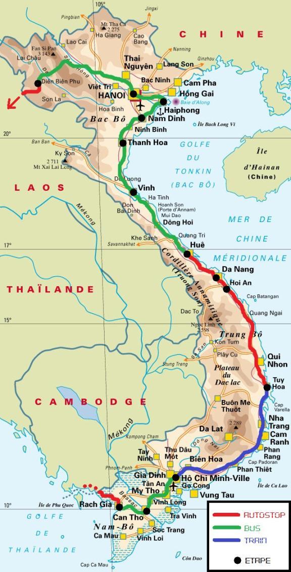 Vietnam itinéraire Julien Adrien autostop
