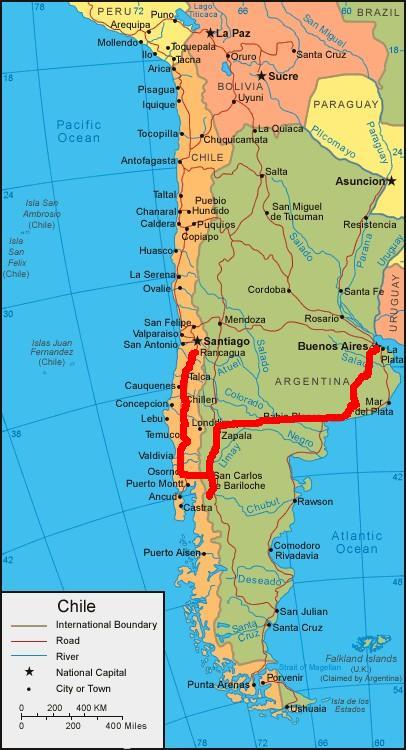 mon itineraire en Amerique du Sud