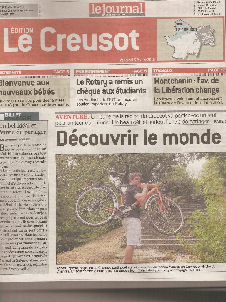Adrien Laporte Journal de Saone et Loire Tour du monde