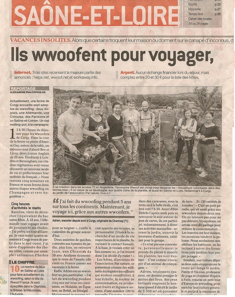wwoofing dans un jardin permaculture en Bourgogne