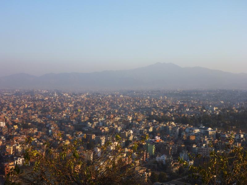 Vue sur Katmandou du haut de la colline.