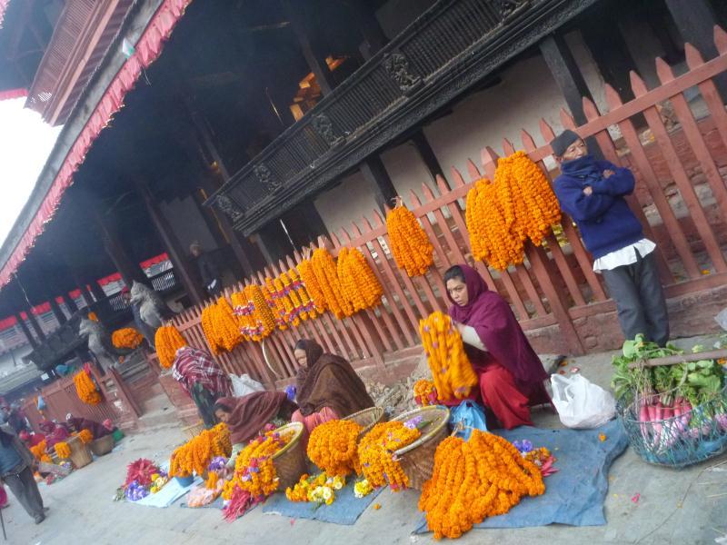 Sur la Durbar Square, ces marchandes vendent des grands colliers de fleurs qui irons décorer les temples hindouistes, mais aussi l'intérieur des maisons, des voitures, et de tout ce qui peut être décoré.
