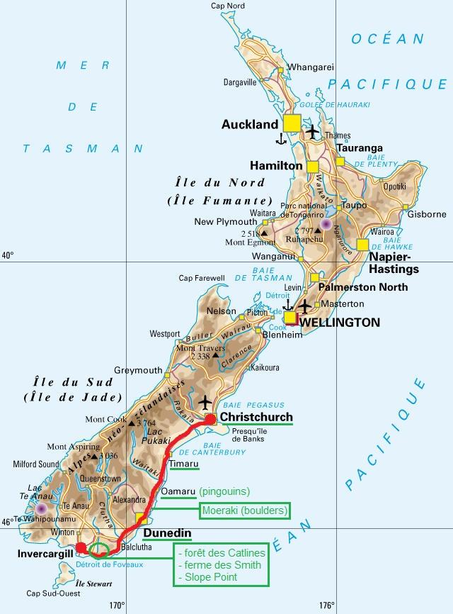 Itinéraire - Première partie : de Christchurch à Invercargill (Ile du Sud). Cliquez sur la carte pour l'agrandir