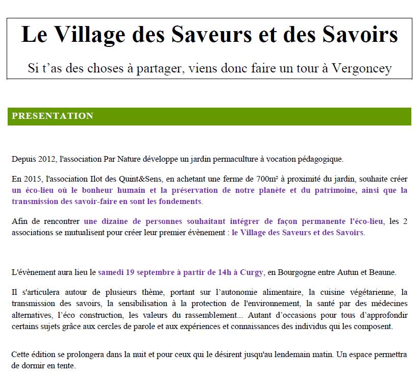 Programme fête permaculture  dans un éco-lieu en Bourgogne 1