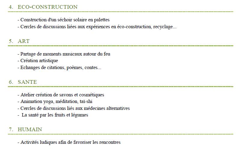 Programme fête permaculture  dans un éco-lieu en Bourgogne 4